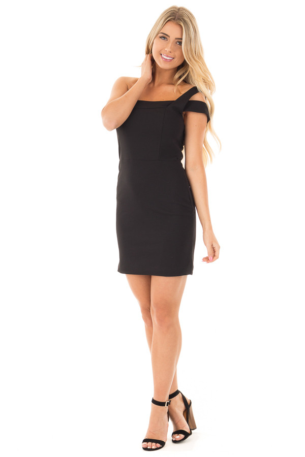 Black Off the Shoulder Bodycon Dress front full body