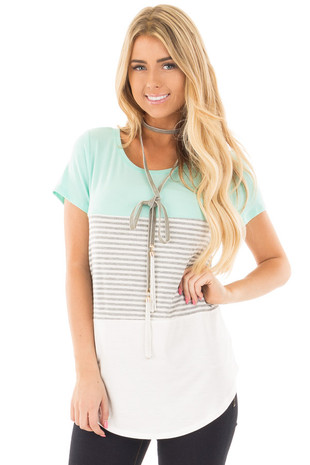Mint and White Color Block Top with Grey Striped Detail front close up