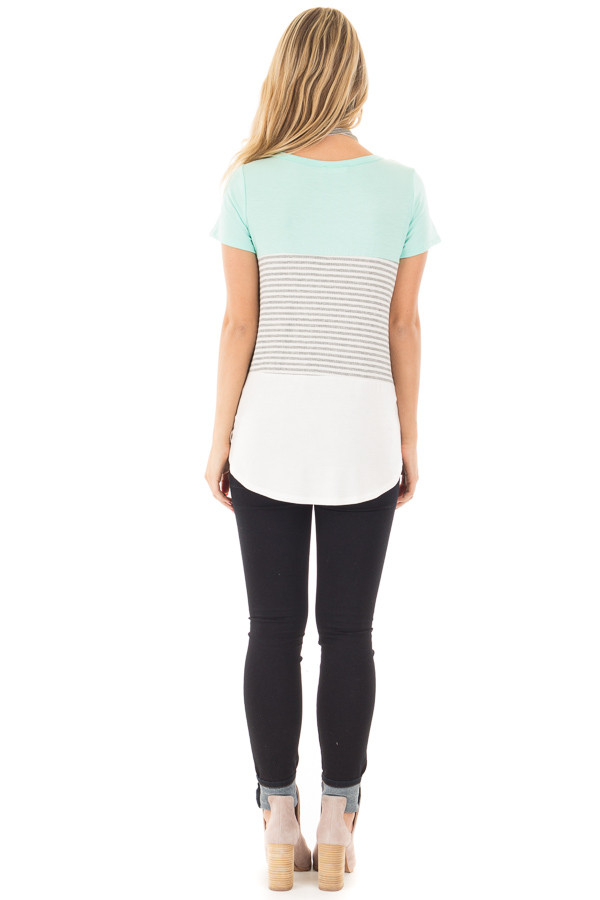 Mint and White Color Block Top with Grey Striped Detail back full body