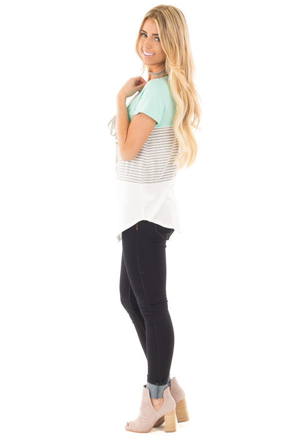 Mint and White Color Block Top with Grey Striped Detail side full body