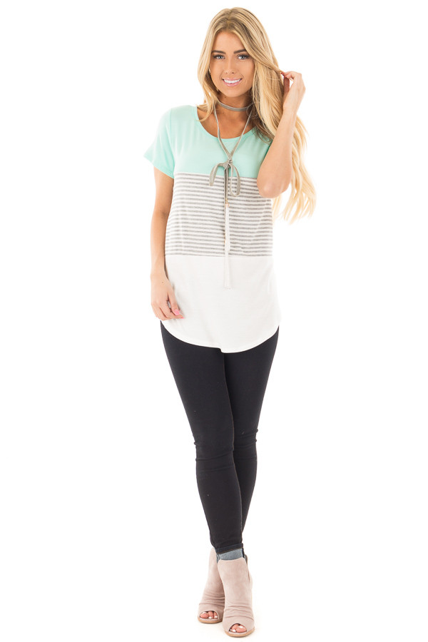 Mint and White Color Block Top with Grey Striped Detail front full body