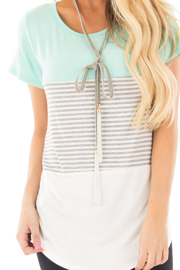 Mint and White Color Block Top with Grey Striped Detail detail