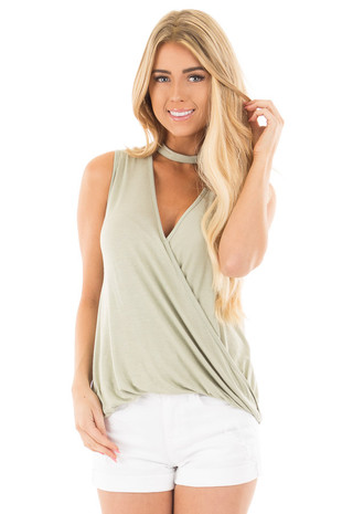 Sage Cut Out V Neck Tank with Crossover Drape Front front close up