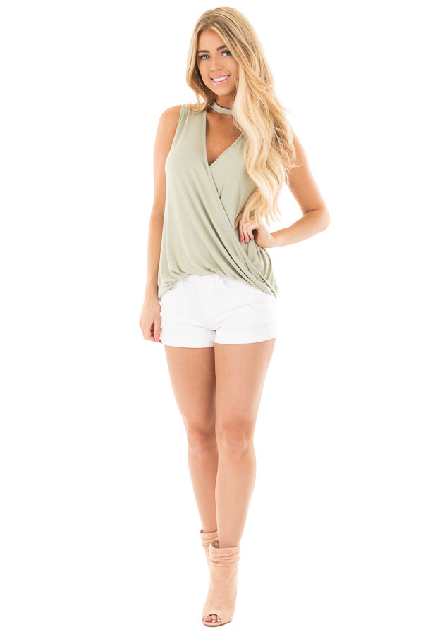 Sage Cut Out V Neck Tank with Crossover Drape Front front full body