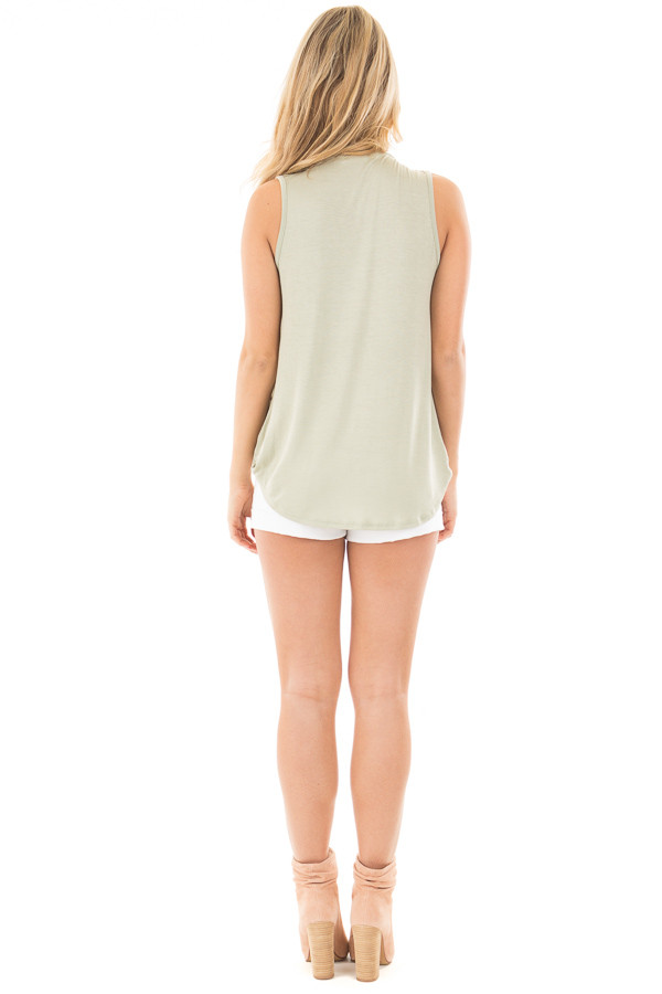 Sage Cut Out V Neck Tank with Crossover Drape Front back full body