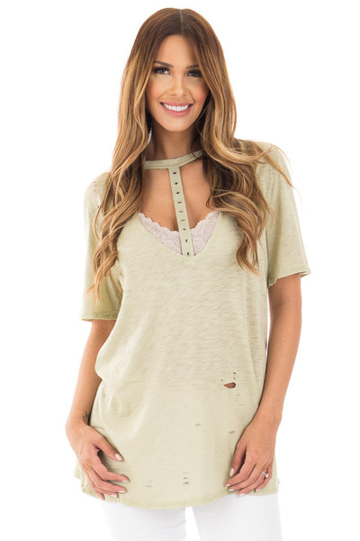 Sage Oversized Distressed Tee with Deep Cut Out Neckline front close up