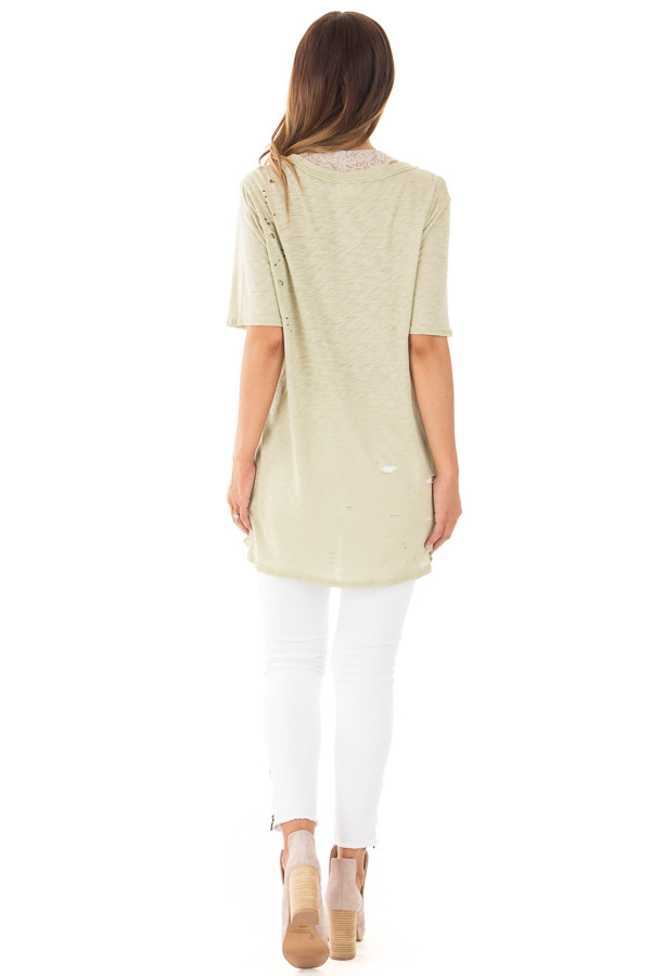 Sage Oversized Distressed Tee with Deep Cut Out Neckline back full body