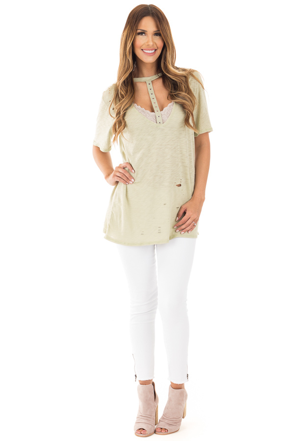 Sage Oversized Distressed Tee with Deep Cut Out Neckline front full body