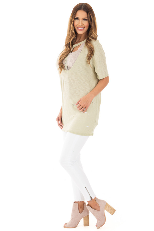 Sage Oversized Distressed Tee with Deep Cut Out Neckline side full body