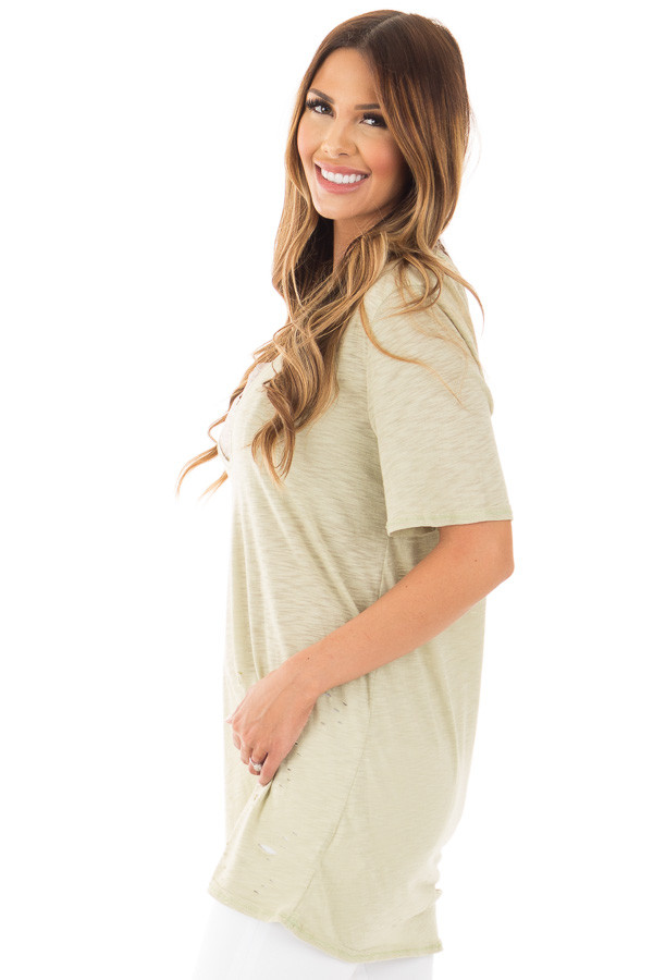 Sage Oversized Distressed Tee with Deep Cut Out Neckline side close up