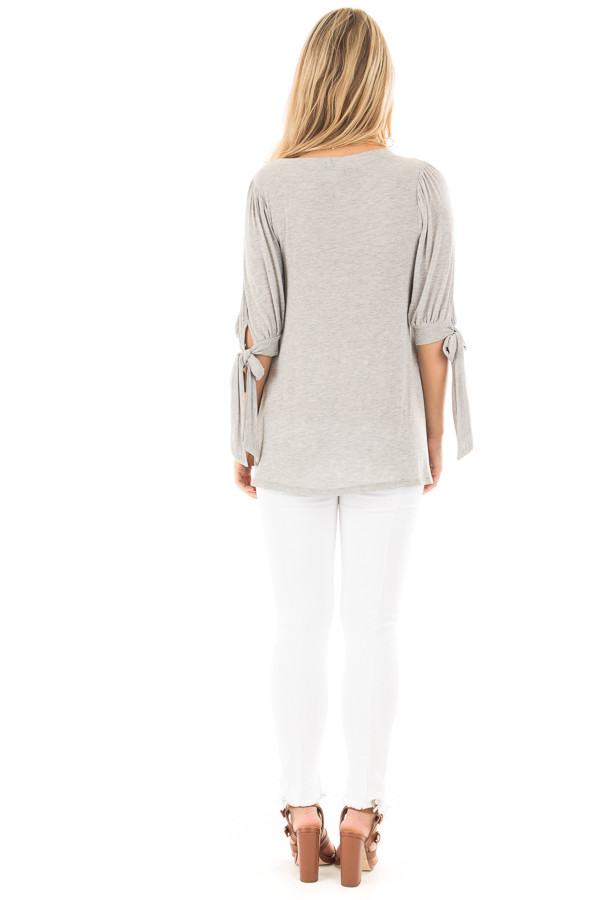 Heather Grey Knit 3/4 Sleeve Top with Tie Details on Sleeves back full body