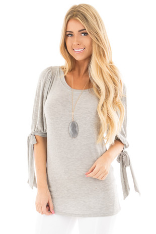 Heather Grey Knit 3/4 Sleeve Top with Tie Details on Sleeves front close up
