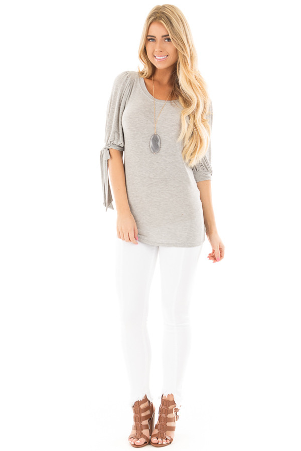 Heather Grey Knit 3/4 Sleeve Top with Tie Details on Sleeves front full body