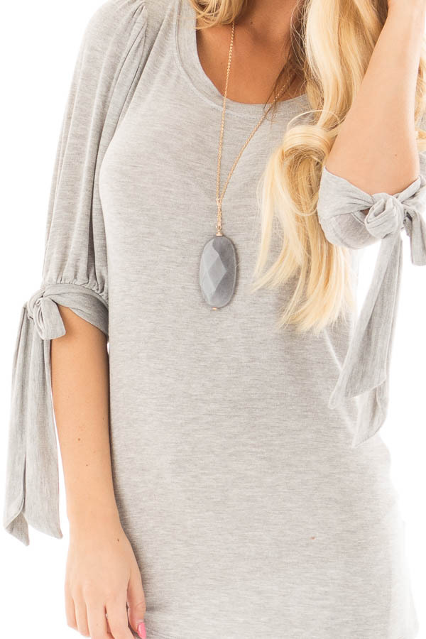 Heather Grey Knit 3/4 Sleeve Top with Tie Details on Sleeves detail