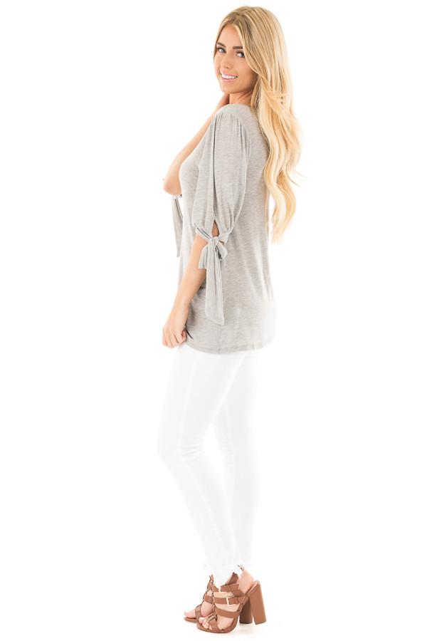 Heather Grey Knit 3/4 Sleeve Top with Tie Details on Sleeves side full body