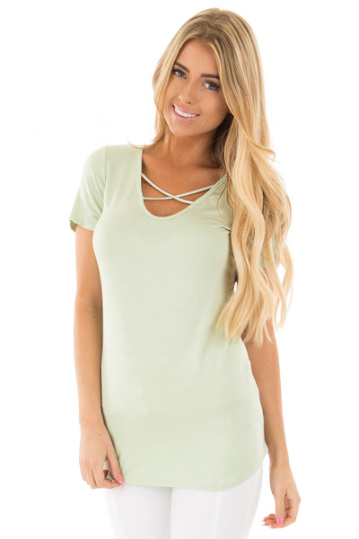 Mint Short Sleeve Criss-Cross Top with Floral Print Back front close up