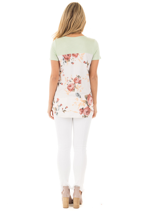 Mint Short Sleeve Criss-Cross Top with Floral Print Back back full body