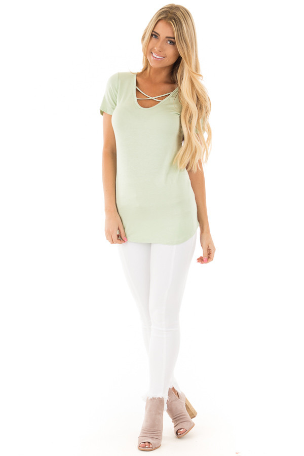Mint Short Sleeve Criss-Cross Top with Floral Print Back front full body