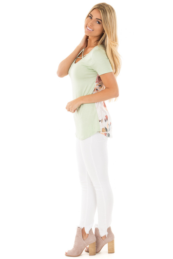 Mint Short Sleeve Criss-Cross Top with Floral Print Back side full body