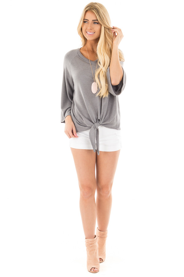 Charcoal Bell Sleeve Top with Front Tie Detail front full body