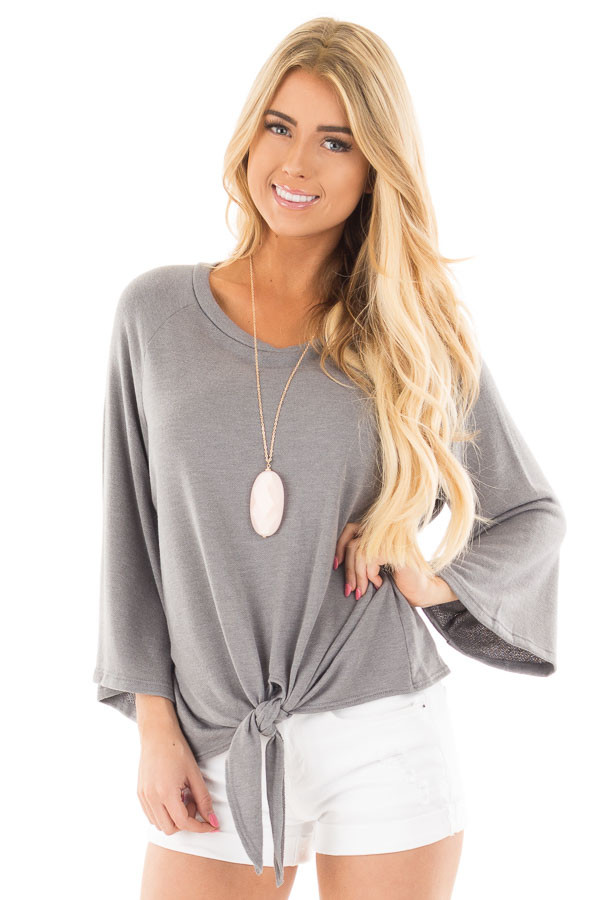 Charcoal Bell Sleeve Top with Front Tie Detail front close up