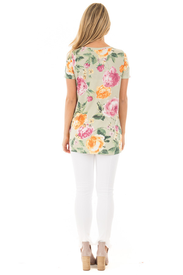 Sage Cap Sleeve Floral Print Twisted Knot Detail Top back full body