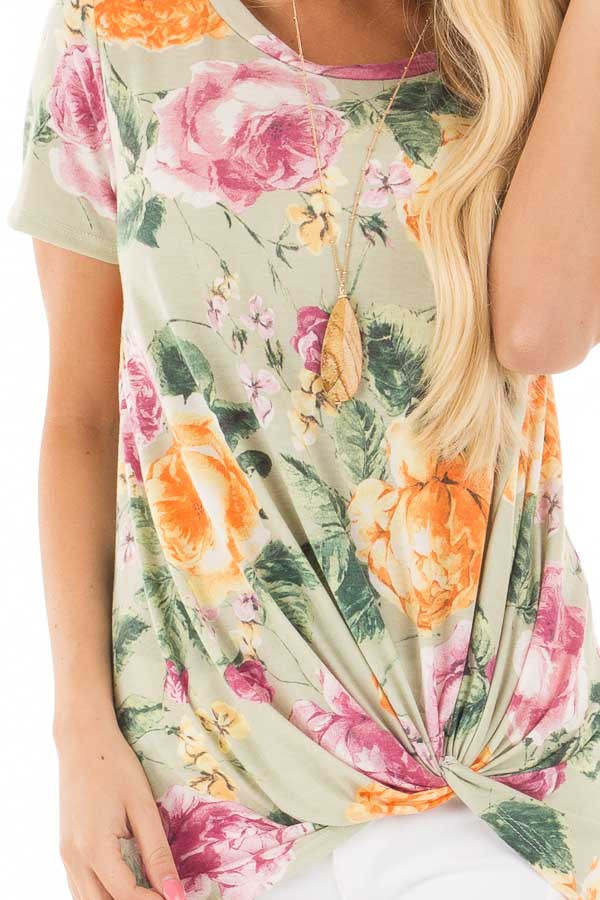 Sage Cap Sleeve Floral Print Twisted Knot Detail Top detail