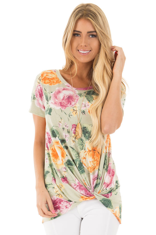 Sage Cap Sleeve Floral Print Twisted Knot Detail Top front close up