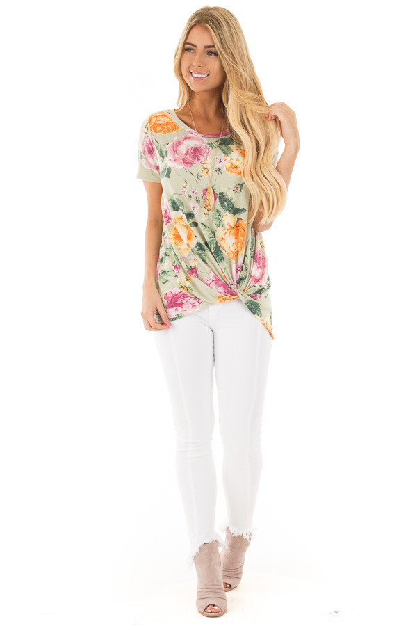 Sage Cap Sleeve Floral Print Twisted Knot Detail Top front full body