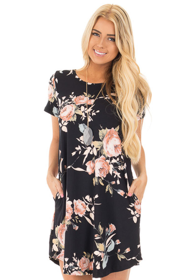 Black Floral Cap Sleeves Dress with Side Pockets front close up