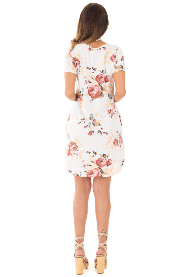 Ivory Floral Cap Sleeve Dress with Side Pockets back full body