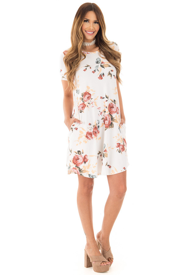 Ivory Floral Cap Sleeve Dress with Side Pockets front full body