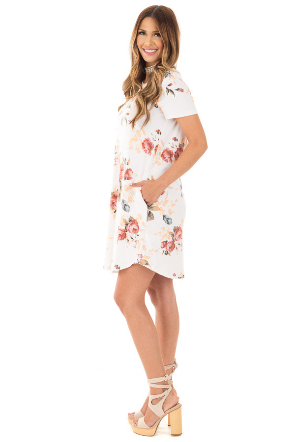 Ivory Floral Cap Sleeve Dress with Side Pockets side full body