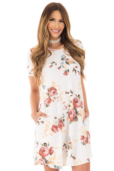 Ivory Floral Cap Sleeve Dress with Side Pockets front close up