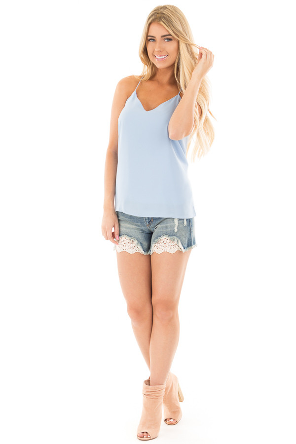 Sky Blue Spaghetti Strap Racer Back V Neck Tank Top front full body