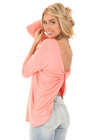 Coral 3/4  Sleeve with Back Twist Detail Top back side close up