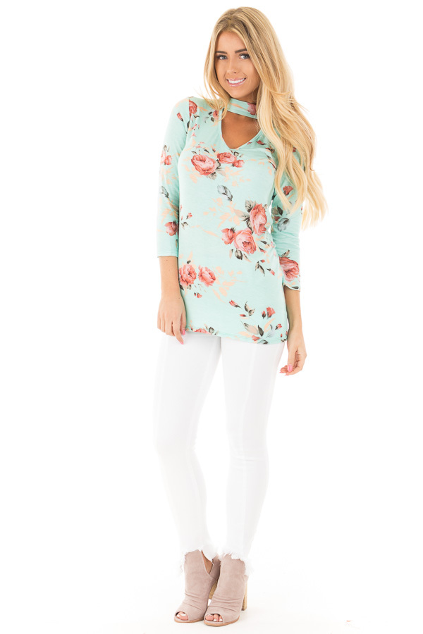 Blue Mint Floral Tee with Cut Out V Neck and 3/4 Sleeves front full body