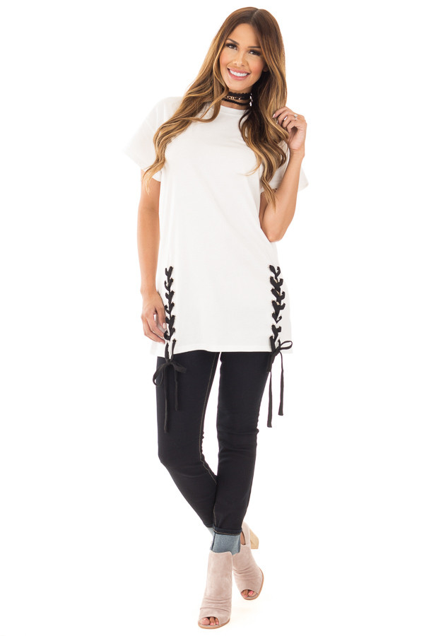Off White Oversized Tee with Black Lace Up Details front full body