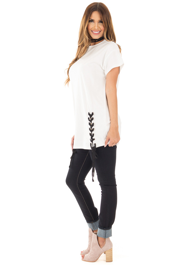 Off White Oversized Tee with Black Lace Up Details side full body