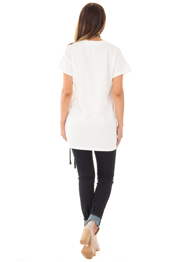 Off White Oversized Tee with Black Lace Up Details back full body