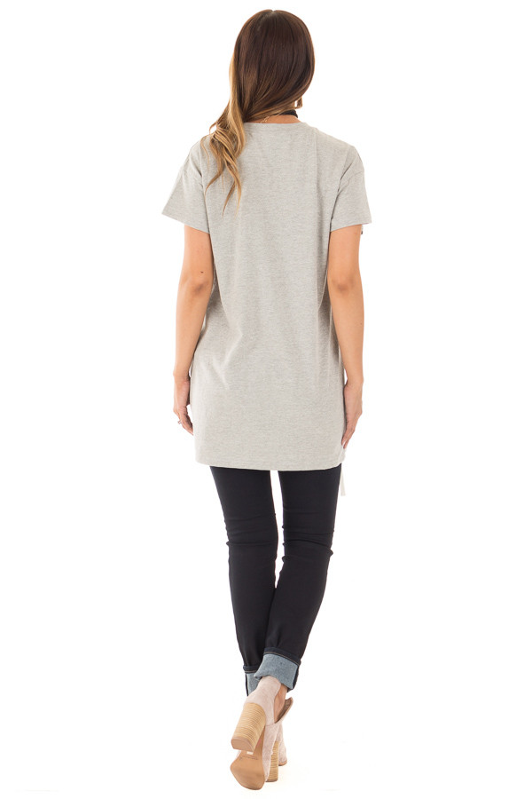 Heather Grey Oversized Tee with White Lace Up Details back full body