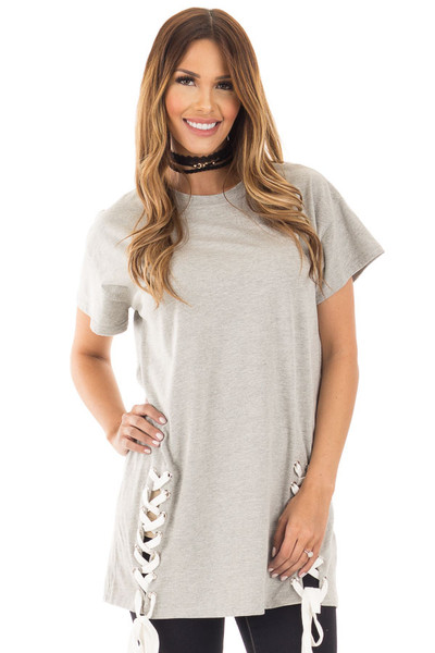 Heather Grey Oversized Tee with White Lace Up Details front close up