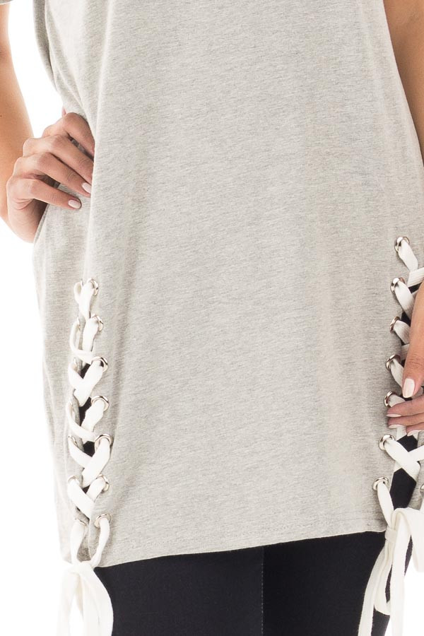 Heather Grey Oversized Tee with White Lace Up Details detail