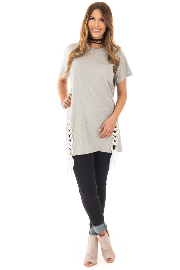 Heather Grey Oversized Tee with White Lace Up Details front full body