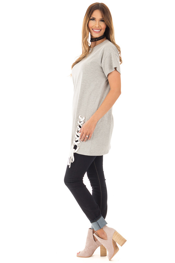 Heather Grey Oversized Tee with White Lace Up Details side full body