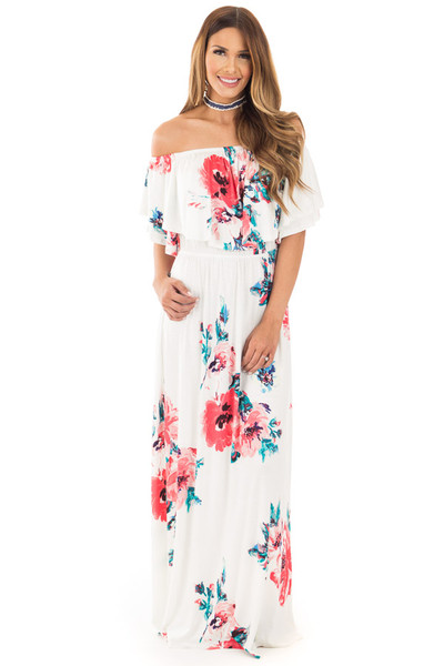 Ivory Off Shoulder Double Ruffle Floral Maxi Dress front full body
