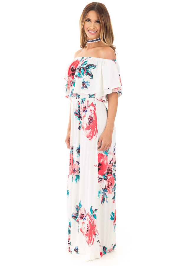 Ivory Off Shoulder Double Ruffle Floral Maxi Dress side full body