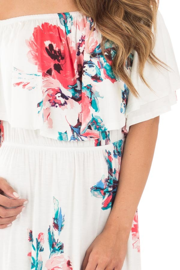 Ivory Off Shoulder Double Ruffle Floral Maxi Dress detail