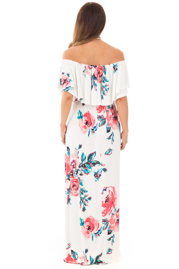 Ivory Off Shoulder Double Ruffle Floral Maxi Dress back full body