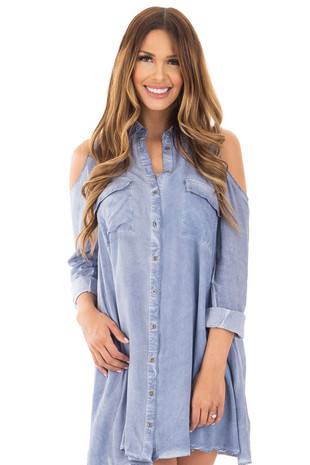 Denim Blue Long Sleeve Cold Shoulder Tunic with Front Pockets front close up